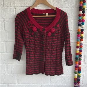 Anthropologie Moth Chunk Knit Wool Cropped Sweater